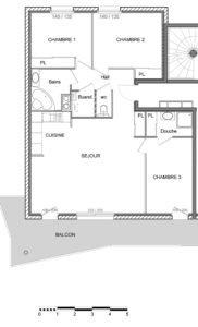 T4   88 m2 + 20 m2 extérieur